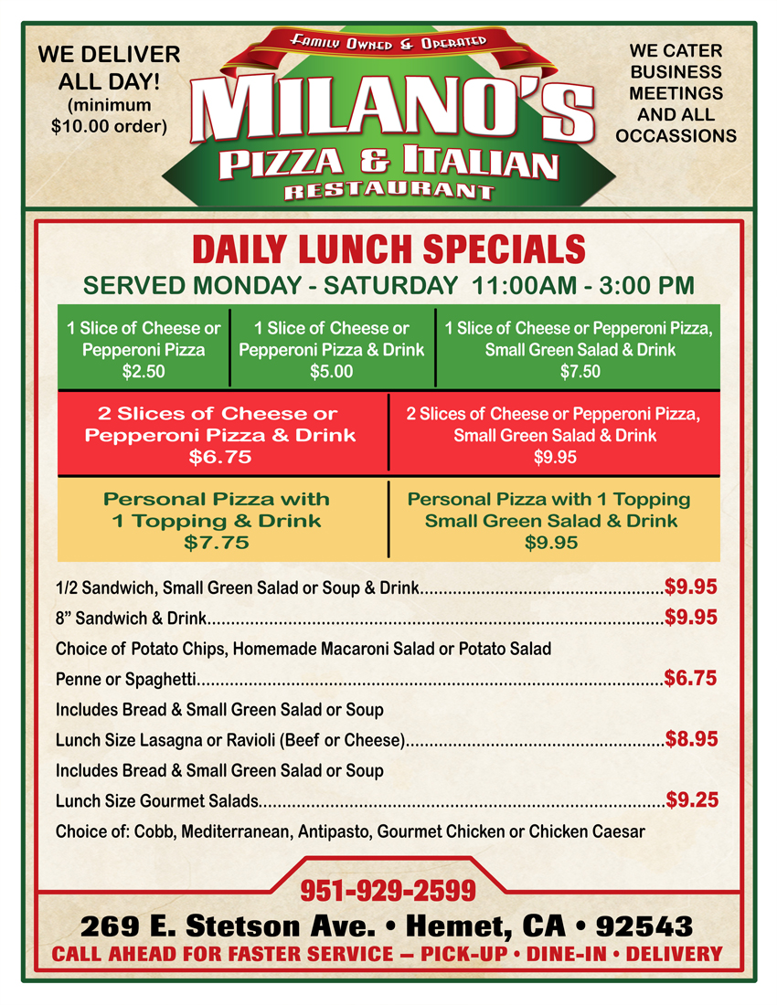 Pizza and italian restaurant hemet for Lunch specials